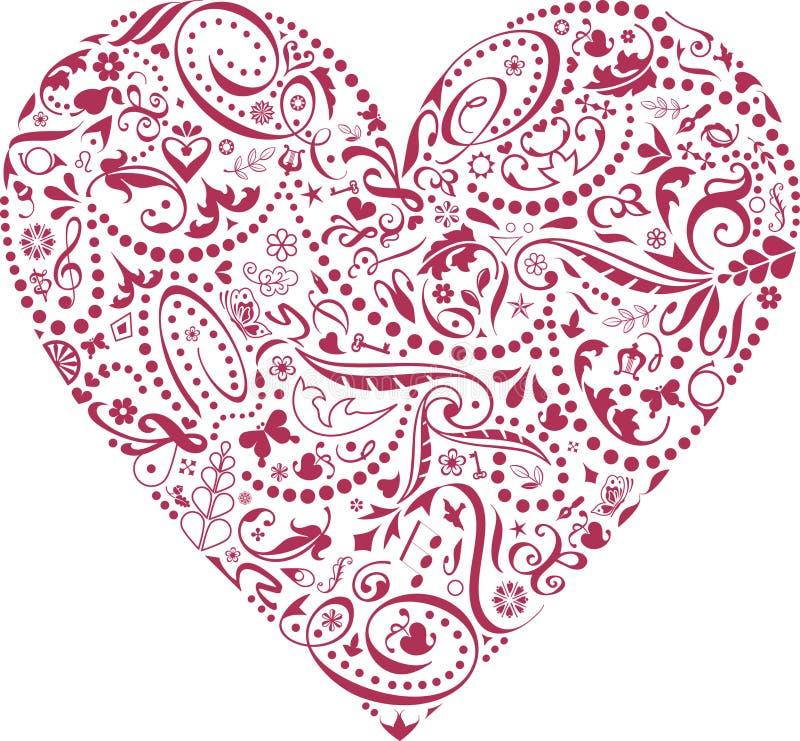 Biglietto di S. Valentino delle icone royalty illustrazione gratis