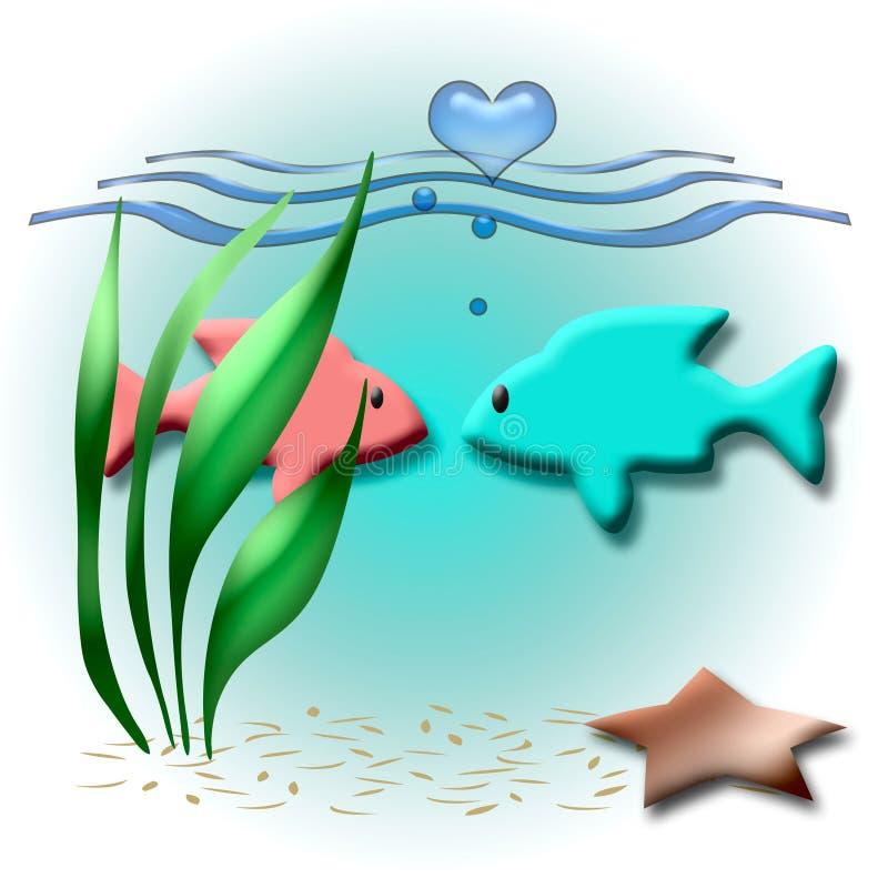 Biglietto di S. Valentino di pesce illustrazione di stock