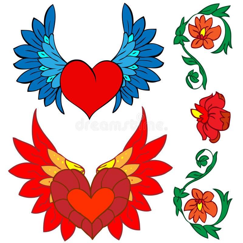 Biglietto di S. Valentino impostato: tatuaggio e rinascita illustrazione vettoriale