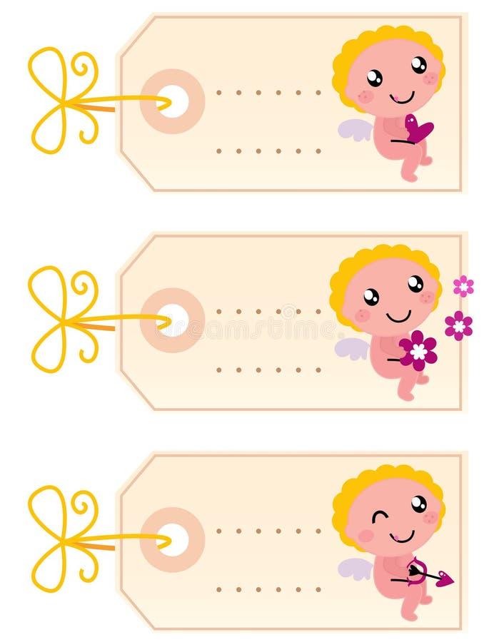Biglietto di S. Valentino \ \ \ 'modifiche in bianco di s con l'angelo illustrazione vettoriale