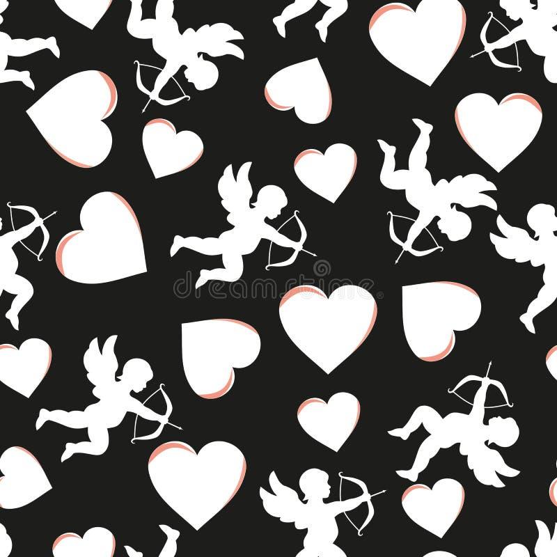 Biglietto di S. Valentino senza cuciture del modello Illustrazione di vettore fotografie stock
