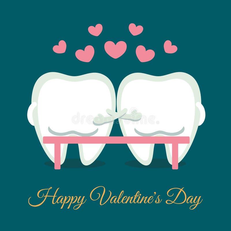 Biglietto di San Valentino romantico dentistico Denti di cartone seduti sulla panchina Saluto dall'odontoiatria illustrazione di stock
