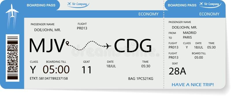 Biglietto di volo Passaggio di imbarco blu illustrazione di stock
