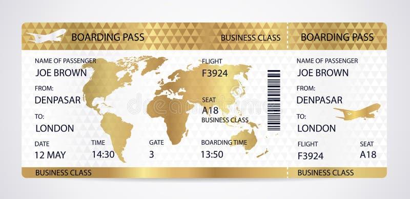 Biglietto dorato del passaggio di imbarco, modello del traveller check con l'aeroplano degli aerei o siluetta dell'aereo sul fond royalty illustrazione gratis