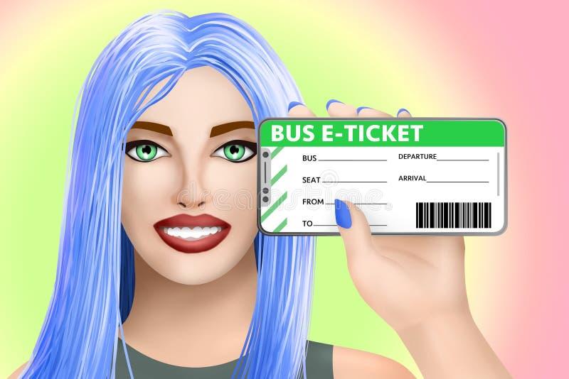 Biglietto elettronico di e-ticket del bus di concetto Ragazza sveglia tirata su fondo luminoso Illustrazione illustrazione di stock