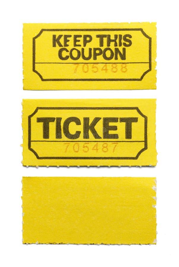 Biglietto giallo immagine stock