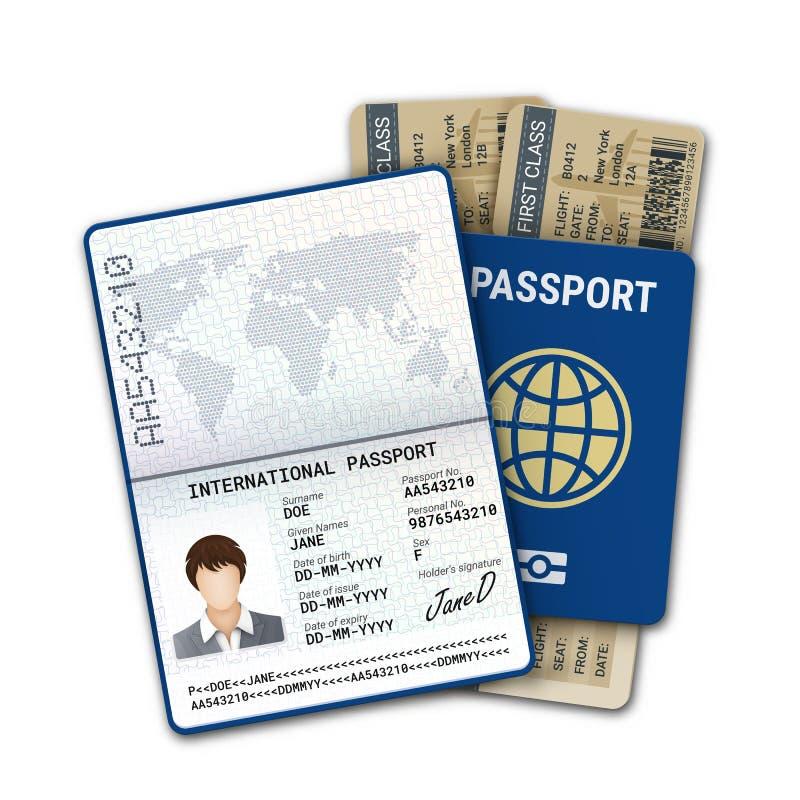Biglietto internazionale del passaggio di imbarco di linea aerea e del passaporto Modello femminile del passaporto con l'identifi royalty illustrazione gratis
