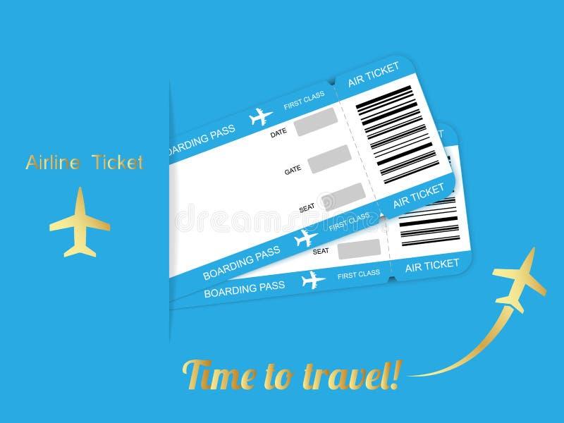 Biglietto moderno del passaggio di imbarco di viaggio di due linee aeree su fondo blu illustrazione di stock