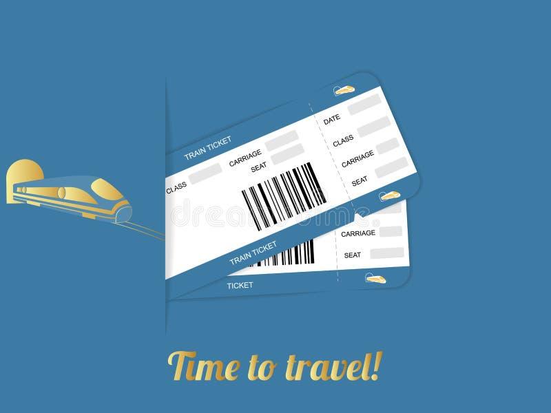 Biglietto moderno del passaggio di imbarco di viaggio di due treni isolato su fondo blu illustrazione di stock