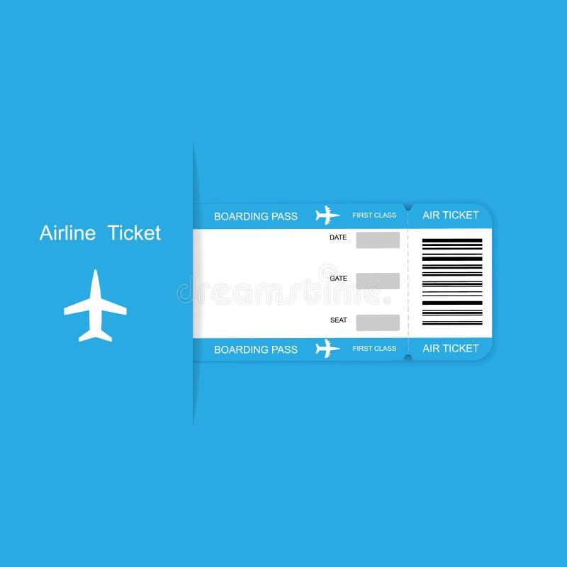 Biglietto moderno del passaggio di imbarco di viaggio di linea aerea su fondo blu royalty illustrazione gratis
