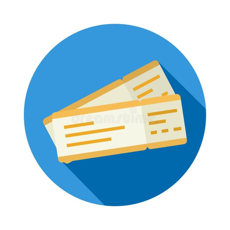 Biglietto o passaggio di imbarco per l'icona piana di stile di progettazione di volo royalty illustrazione gratis