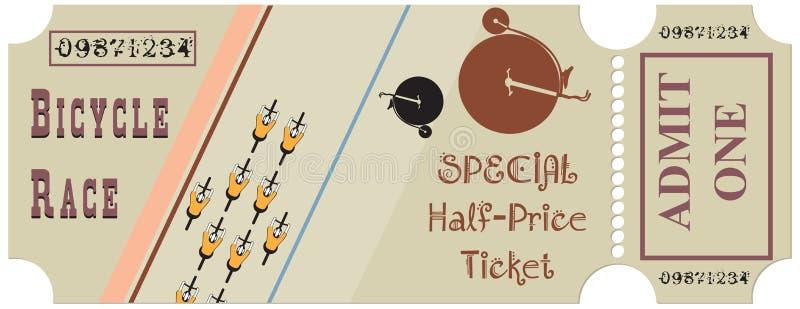 Biglietto per una corsa di bicicletta illustrazione vettoriale