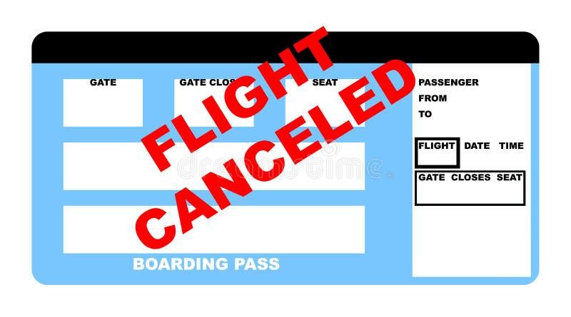 Biglietto piano annullato volo illustrazione di stock
