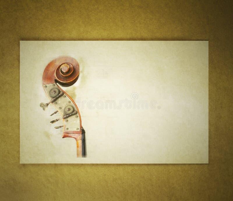 Biglietto postale dell'annata del violoncello immagini stock libere da diritti