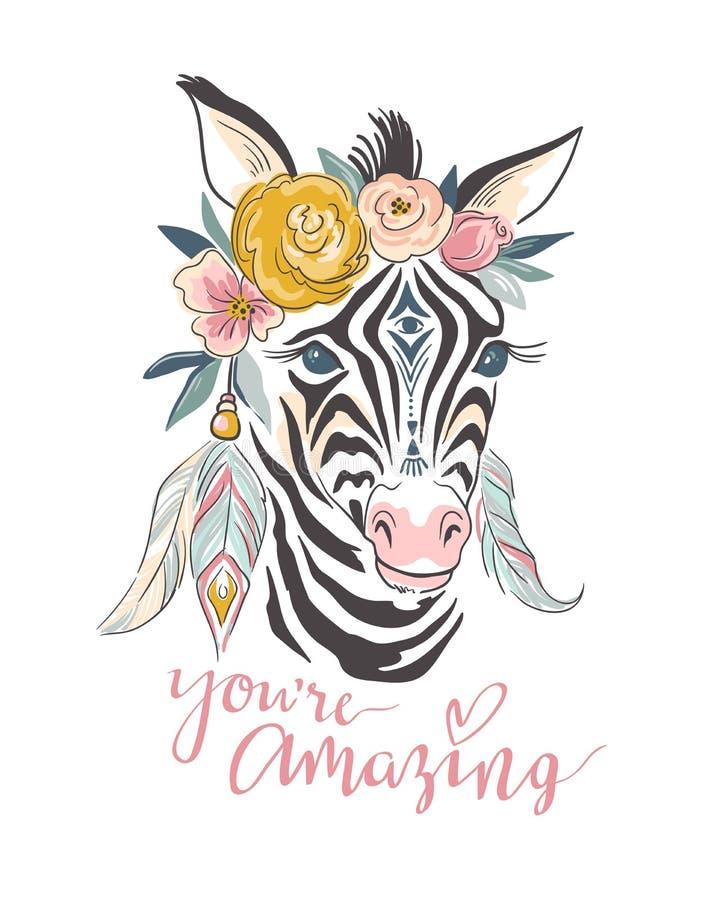 Biglietto postale di vettore Illustrazione alla moda disegnata a mano con la zebra e lo slogan di boho illustrazione di stock