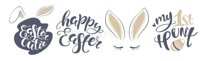 Biglietto postale felice del coniglietto di pasqua di vettore citazione per progettare la cartolina d'auguri, manifesto, insegna, illustrazione vettoriale