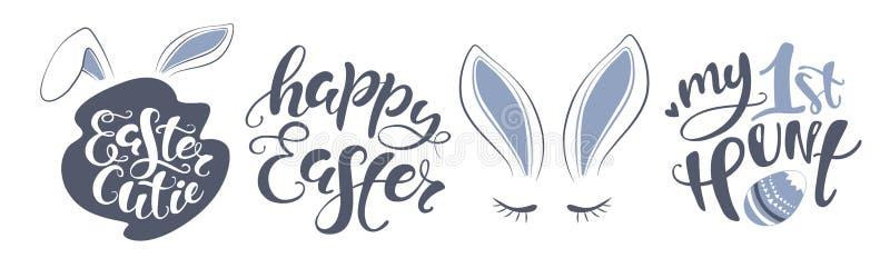 Biglietto postale felice del coniglietto di pasqua di vettore citazione per progettare la cartolina d'auguri, manifesto, insegna, royalty illustrazione gratis