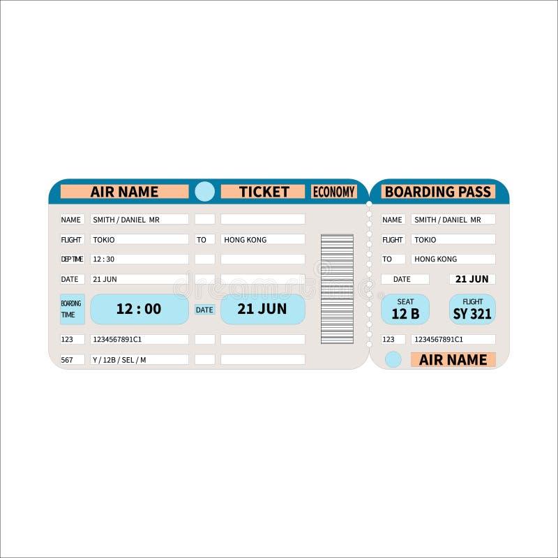 Biglietto realistico colorato di volo con un passaggio di imbarco illustrazione vettoriale