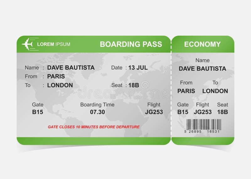 Biglietto verde del passaggio di imbarco di linea aerea illustrazione di stock
