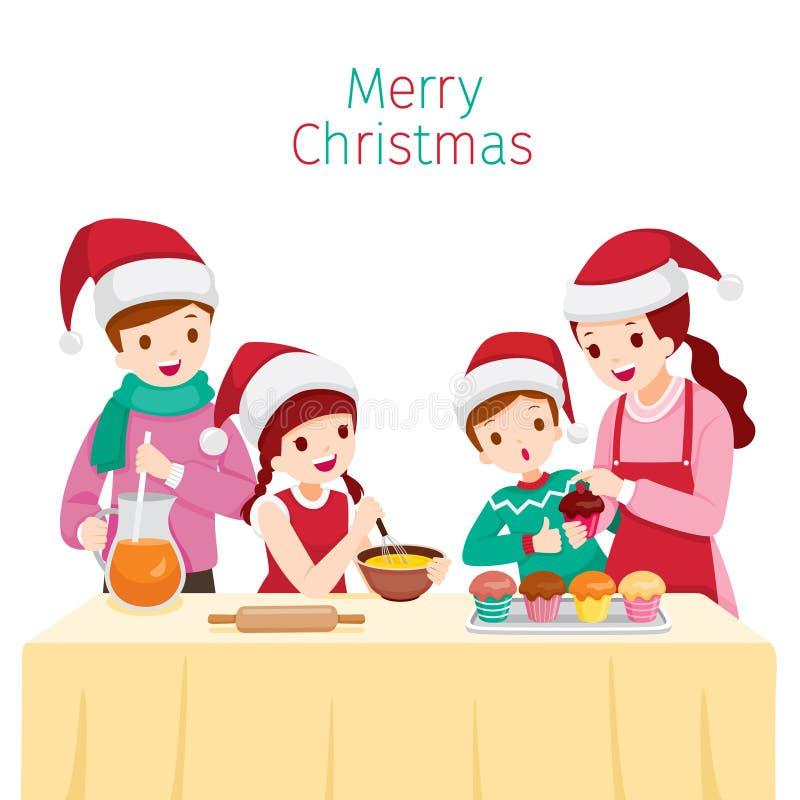 Bigné bollente della famiglia felice insieme illustrazione di stock