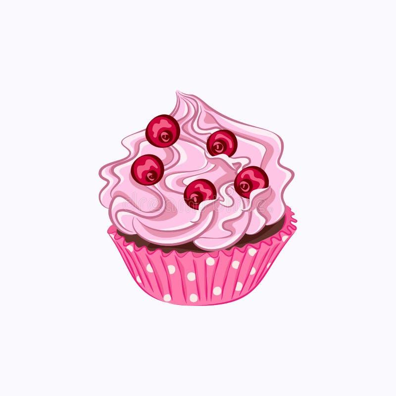 Bigné con crema rosa e la bacca rossa illustrazione di stock