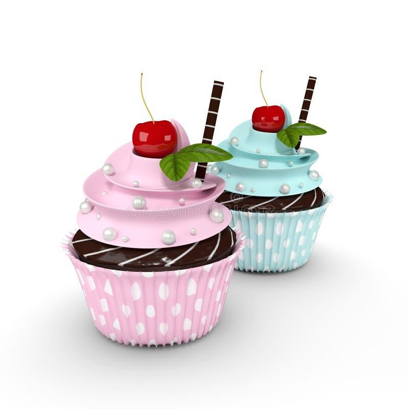 Bigné con i dolci e la ciliegia della perla isolati su fondo bianco illustrazione di stock