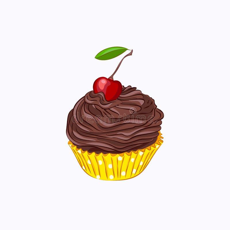 Bigné con la crema e la ciliegia del cioccolato illustrazione vettoriale
