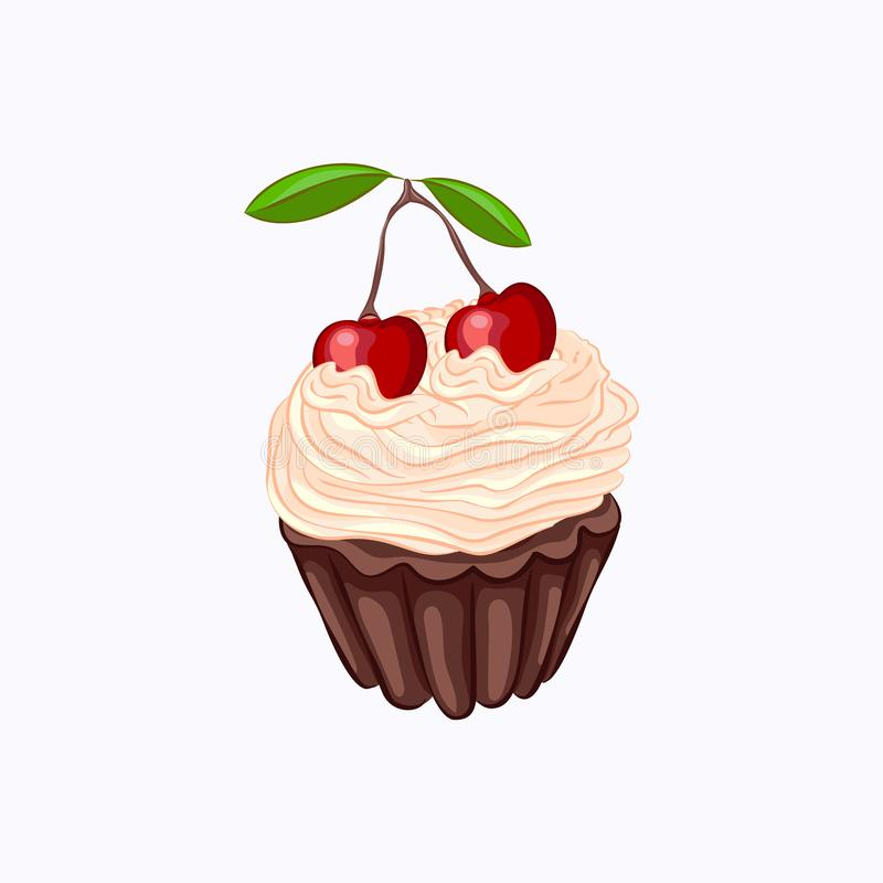 Bigné del cioccolato con crema e la ciliegia isolate illustrazione vettoriale