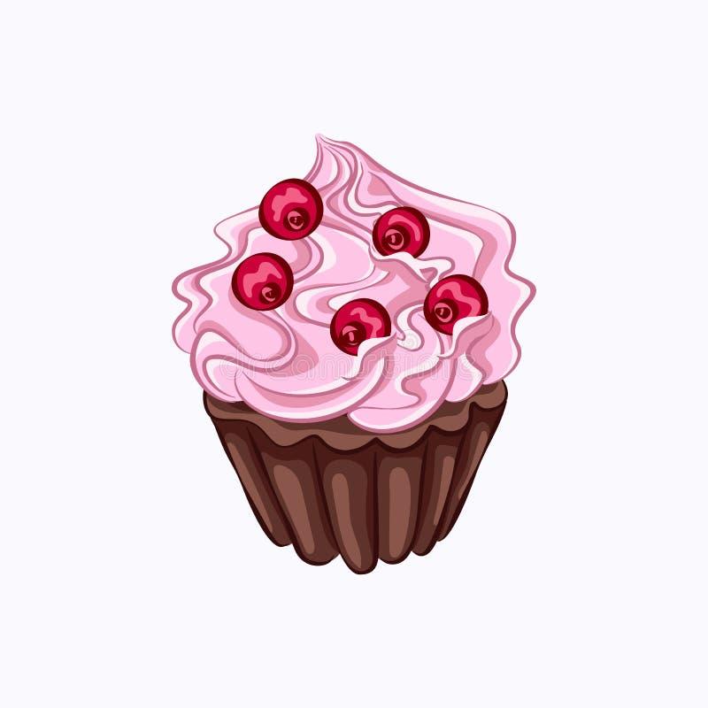 Bigné del cioccolato con crema rosa illustrazione vettoriale