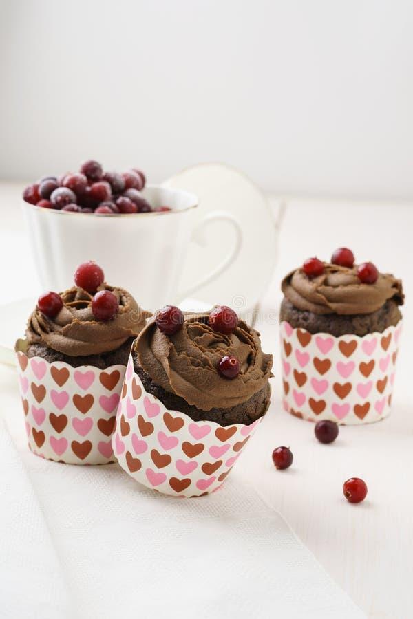 Bigné del cioccolato con i mirtilli rossi per Valentine& x27; giorno di s fotografie stock