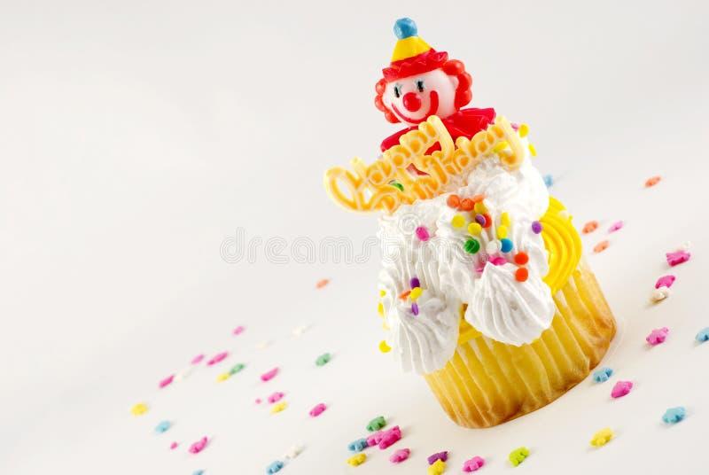 Pagliaccio Cupcake di buon compleanno immagini stock libere da diritti