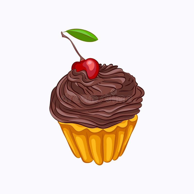 Bigné della vaniglia con la crema e la ciliegia del cioccolato royalty illustrazione gratis