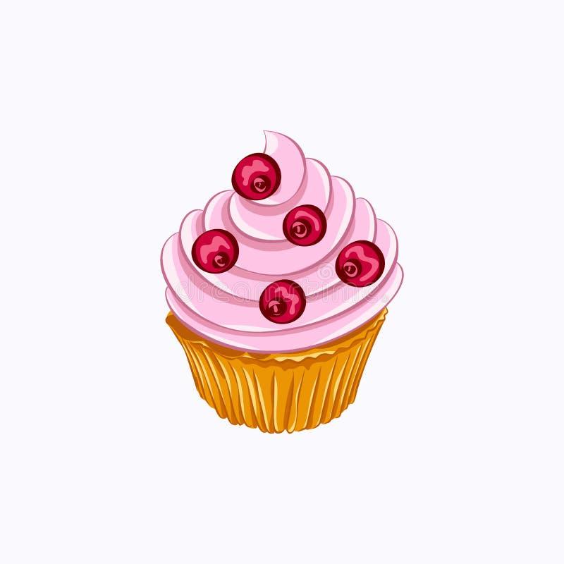 Bigné della vaniglia con panna montata bacca rossa illustrazione vettoriale
