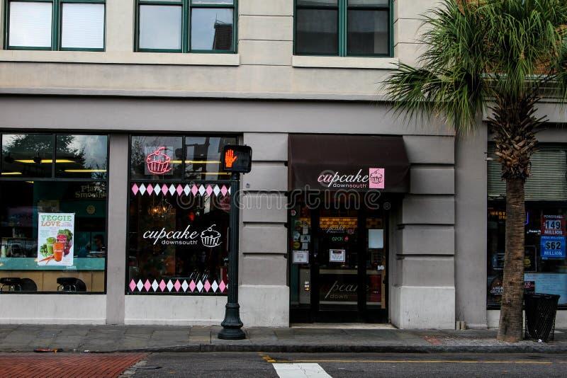 Bigné giù verso sud, re Street, Charleston, Sc immagine stock