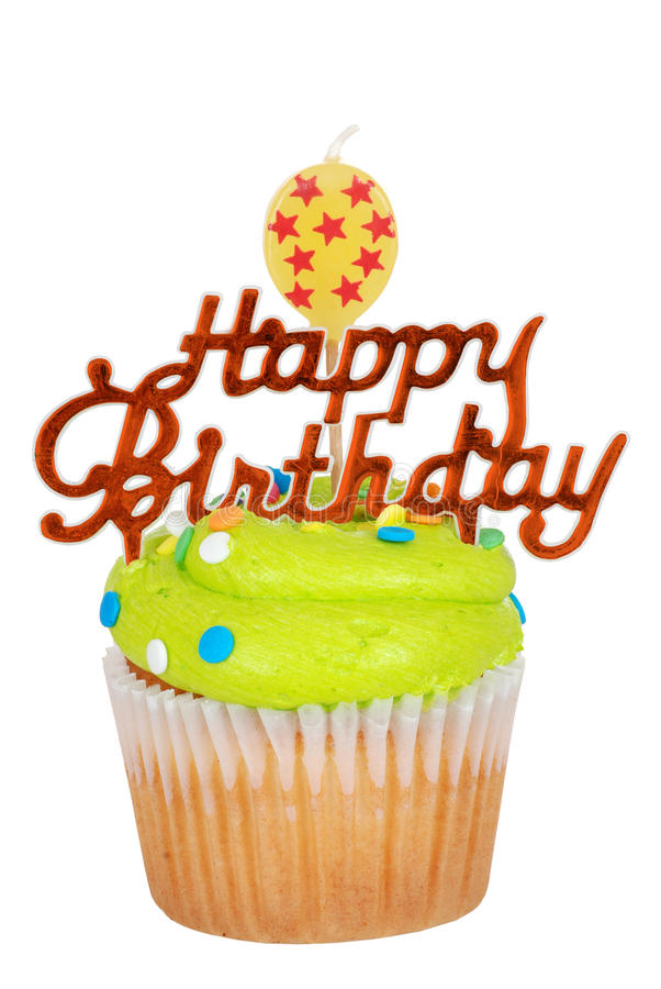 Bigné verde di compleanno con la candela dell'aerostato immagini stock