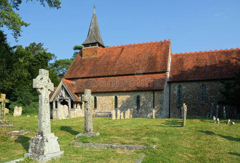 The Church of The Holy Cross, Bignor, Sussex, UK. Bignor is a village and civil parish in the Chichester district of the English county of West Sussex, about six stock photography