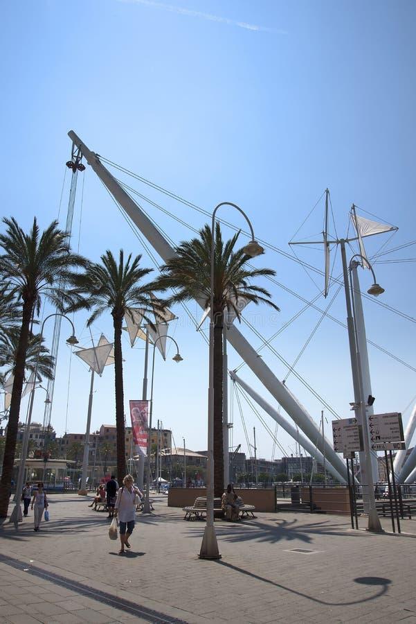 Bigo ist eine große Gelegenheit, eine Vogelaugenansicht des alten Hafens beim Lernen zu erhalten über Genoa's-Geschichte stockbilder