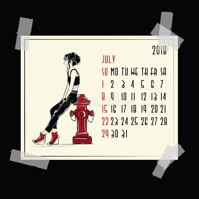 bigos 2018 amerykanina i kanadyjczyka kalendarz royalty ilustracja