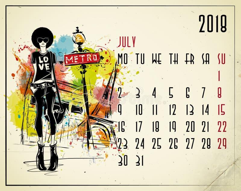 bigos 2018 europejczyka kalendarz z mody dziewczyną ilustracji