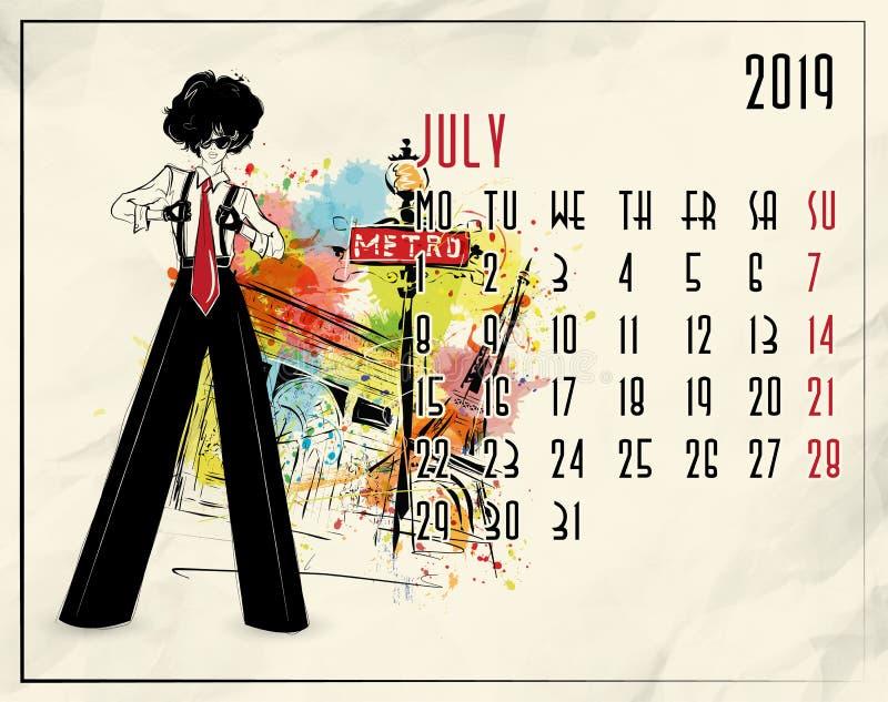 bigos 2019 europejczyka kalendarz z mody dziewczyną royalty ilustracja