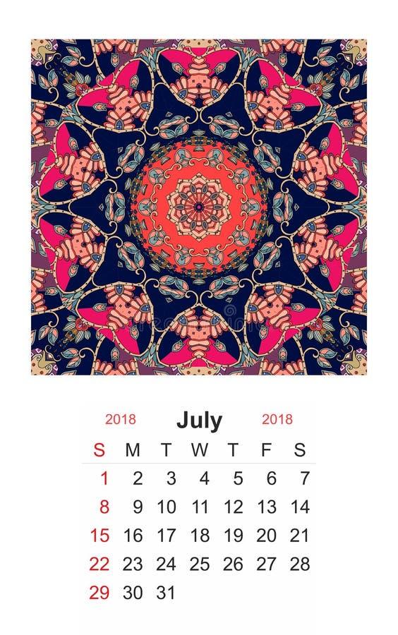 bigos Kalendarz dla 2018 rok na indyjskim ornamentacyjnym tle mandala royalty ilustracja