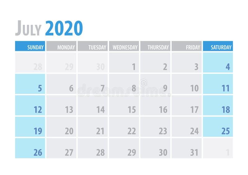 bigos Kalendarzowy planista 2020 w czystym minimalnym stołowym prostym stylu również zwrócić corel ilustracji wektora royalty ilustracja