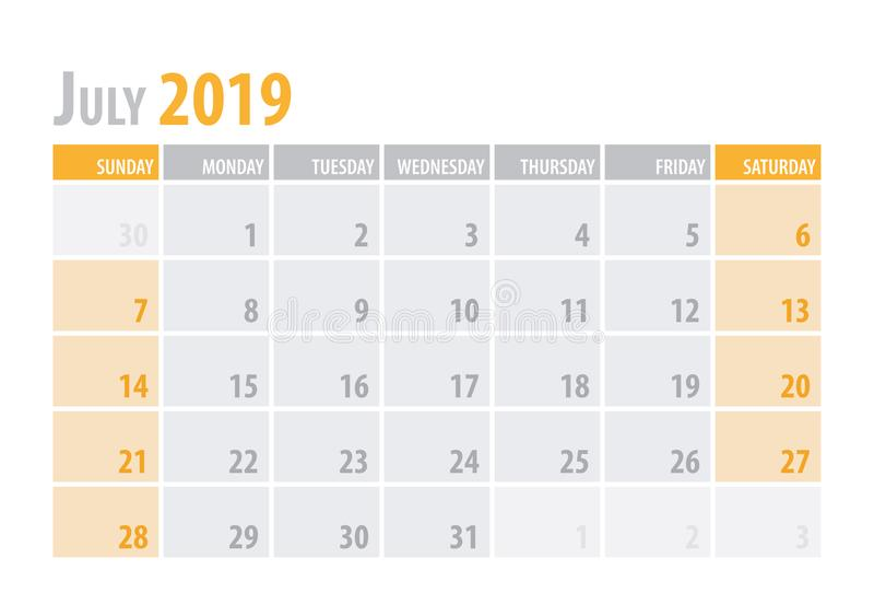 bigos Kalendarzowy planista 2019 w czystym minimalnym stołowym prostym stylu również zwrócić corel ilustracji wektora ilustracja wektor