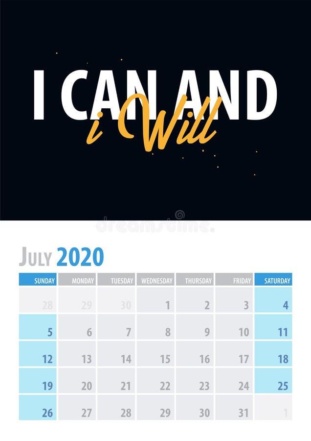 bigos Kalendarzowy planista 2020 z motywacyjną wyceną na czarnym tle również zwrócić corel ilustracji wektora royalty ilustracja