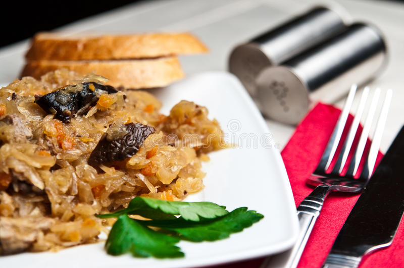 Bigos (Polish cuisine of cabbage food). An elegant plate of traditional Polish food bigos (cabbage served with meat, mushrooms and spices stock photography