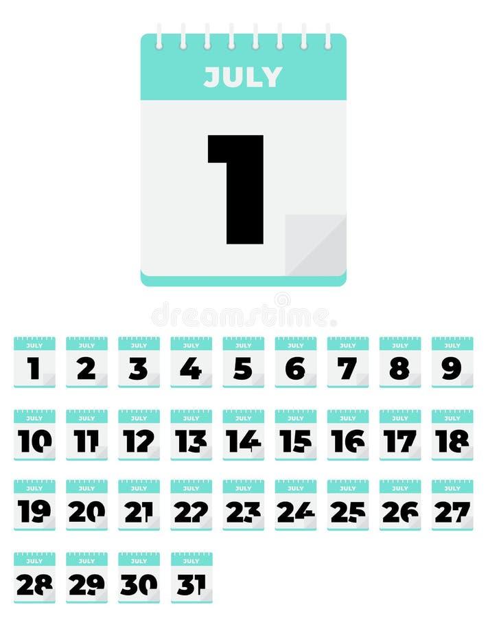 bigos Wektorowy płaski dziennego kalendarza set ikona ilustracji