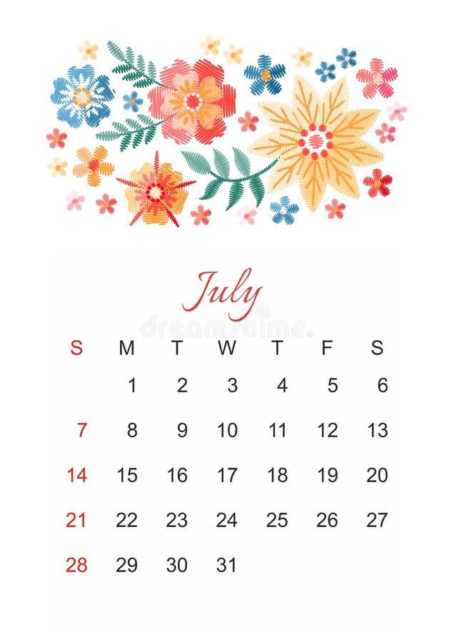 bigos Wektoru kalendarzowy szablon dla 2019 rok z pięknym składem hafciarscy kwiaty ilustracja wektor