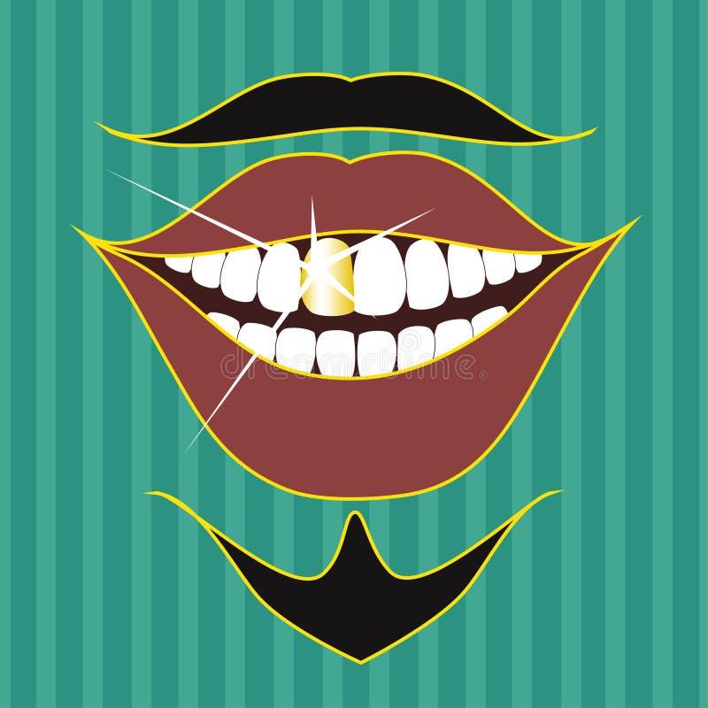 Bigote, barba y sonrisa del actor stock de ilustración