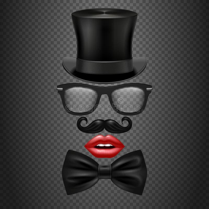 Bigote, corbata de lazo, vidrios, labios rojos de la muchacha y sombrero del cilindro apoyos realistas de la cabina de la foto de libre illustration