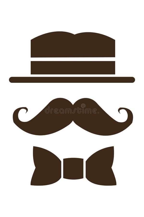 bigote del sombrero e icono del bowtie fotos de archivo libres de regalías
